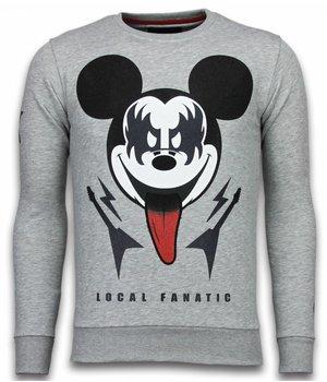 Local Fanatic Sudaderas - Kiss My Mickey Rhinestone Sudaderas hombre - Gris