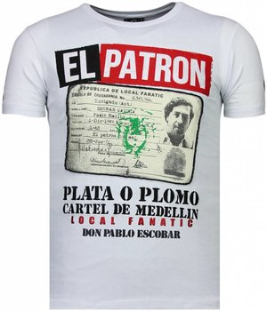 Local Fanatic Camisetas - El Patron Narcos Billionaire Rhinestone Camisetas Personalizadas - Blanco