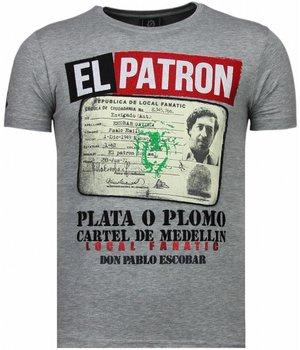 Local Fanatic Camisetas - El Patron Narcos Billionaire Rhinestone Camisetas Personalizadas - Gris