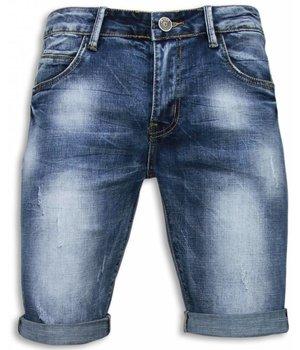 Black Ace Pantalones Cortos - Hombre Estropeado Slim Fit - Azul