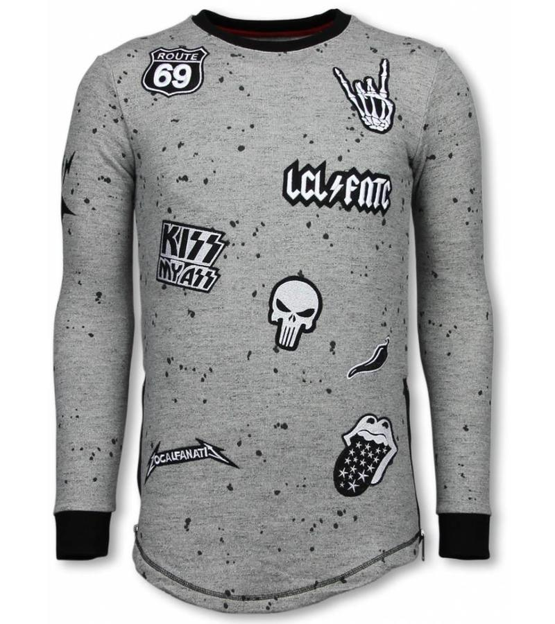 Local Fanatic Longfit Embriordry - Patches Para El Suéter - Rockstar - Gris