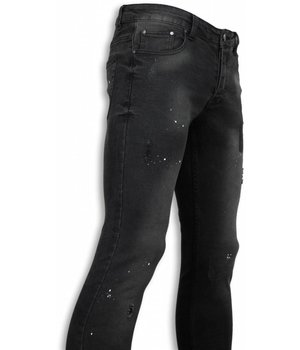 New Stone Exclusivo Jeans - Slim Fit Paint Drop Jeans - Negro