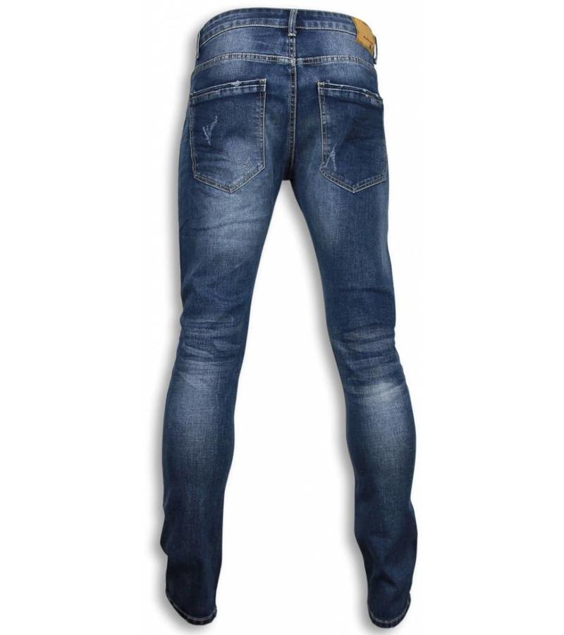 Black Ace Basic Jeans - Dañado Knee Regular Fit - Azul
