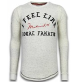 Local Fanatic Suéter De Encaje Largo - Me Siento Como Muhammad - Beige