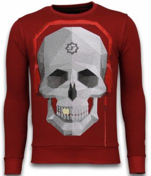 Local Fanatic Sudaderas - Skull Beat Rhinestone Sudaderas - Burdeos