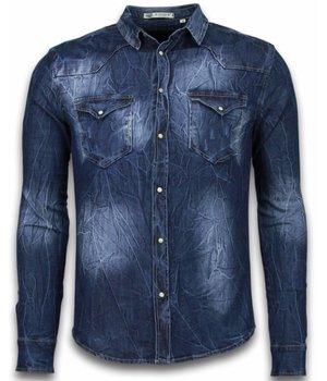 Enos Camisa de mezclilla - Camisa Vaquera Slim Fit - Vintage Washed - Azul