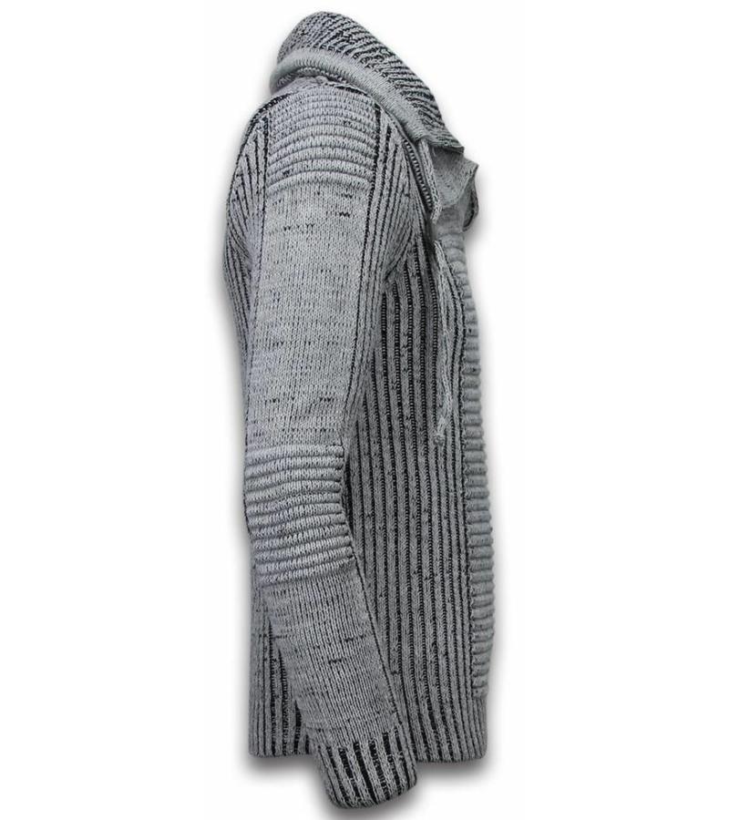 Black Number Jersey De Punto Para Hombre - Botón Exclusivo Para Bufanda - Gris