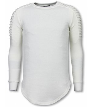 Uniplay Sudaderas Hombre - Suéter Longfit - Hombro Biker - Blanco