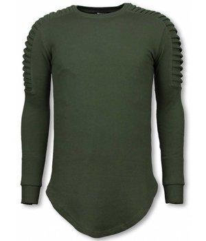 Uniplay Sudaderas Hombre - Suéter Longfit - Hombro Biker - Verde