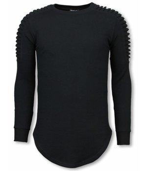 Uniplay Sudaderas Hombre - Suéter Longfit - Hombro Biker - Negro