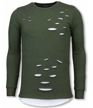Uniplay Sudaderas Hombre - Suéter Longfit - Hombro Biker Dañado - Verde