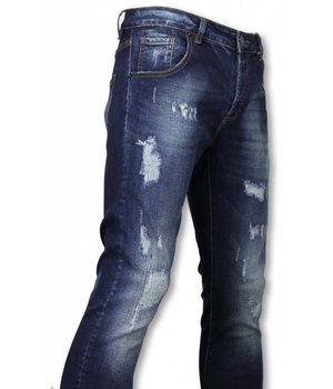 Avenue Denim Jeans Basic - Dañado Allover Tapered Fit - Azul