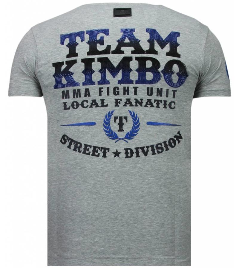 Local Fanatic Camisetas - Kimbo Slice - Rhinestone Camisetas - Gris