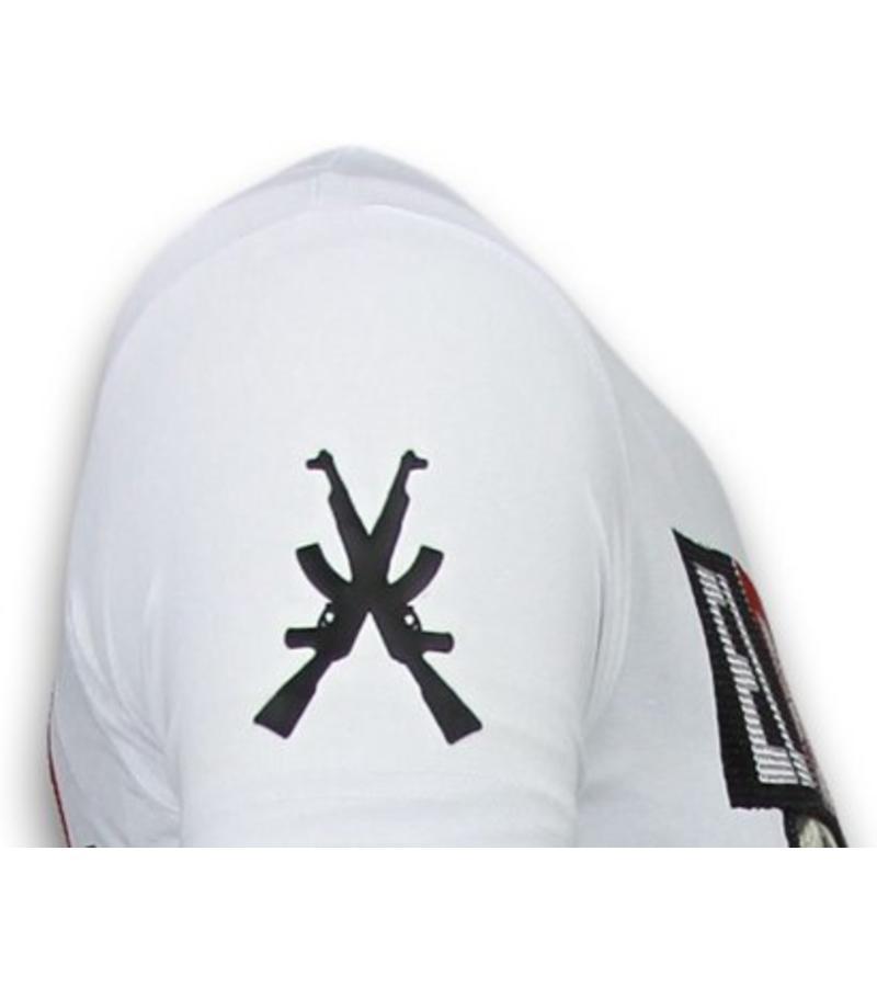 Local Fanatic Camisetas - El Patron Narcos Billionaire- Rhinestone Camisetas - Blanco