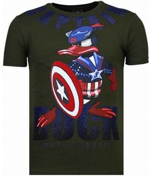 Local Fanatic Camisetas - Captain Duck - Rhinestone Camisetas - Verde