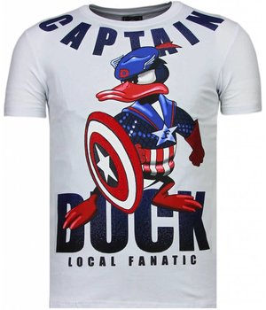 Local Fanatic Camisetas - Captain Duck - Rhinestone Camisetas - Blanco