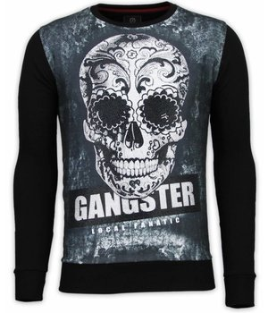 Local Fanatic Gangster Skull - Digital Rhinestone Sudaderas - Negro
