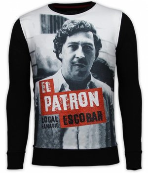Local Fanatic El Patron Escobar - Digital Rhinestone Sudaderas - Negro