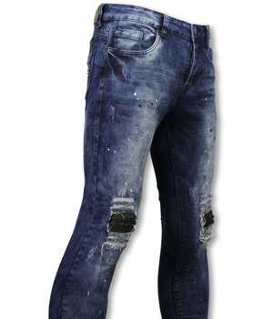 Urban Rags Exclusivo Biker Jeans - Slim Fit Damaged Knee Con Gotas De Pintura- Azul