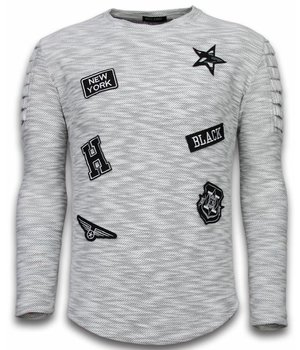 Enos Sudaderas Hombre - Manga Larga - Sweater De Corte Largo Exclusivo De Sudaderas - Patches Biker Sleeves - Gris