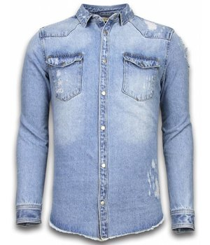 Enos Camisa De Mezclilla Slim Fit - Damaged Sleeves - Azul