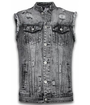 Bruno Leoni Denim Gilet Sin Mangas - Damaged Look - Negro