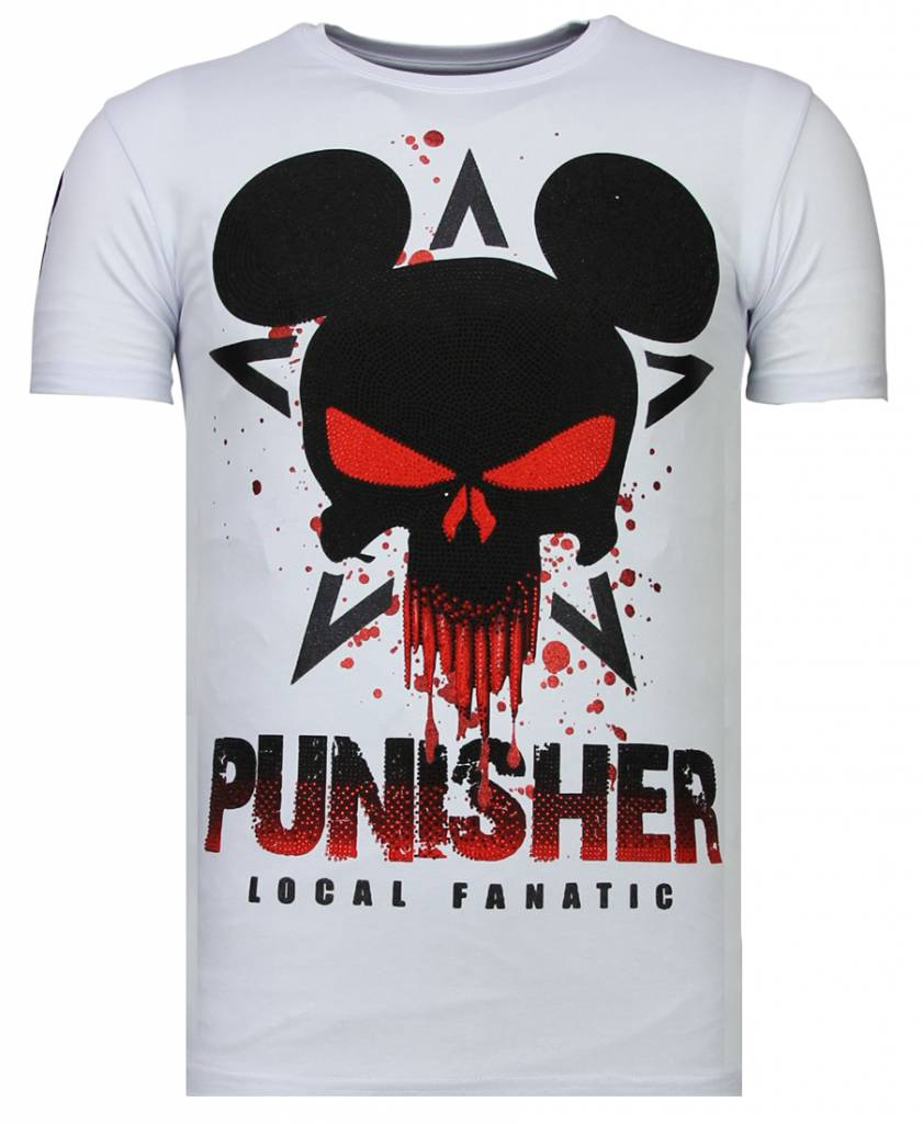 42b26757cc228 Local Fanatic Camisetas - Punisher Mickey - Rhinestone Camisetas - Blanco  ...