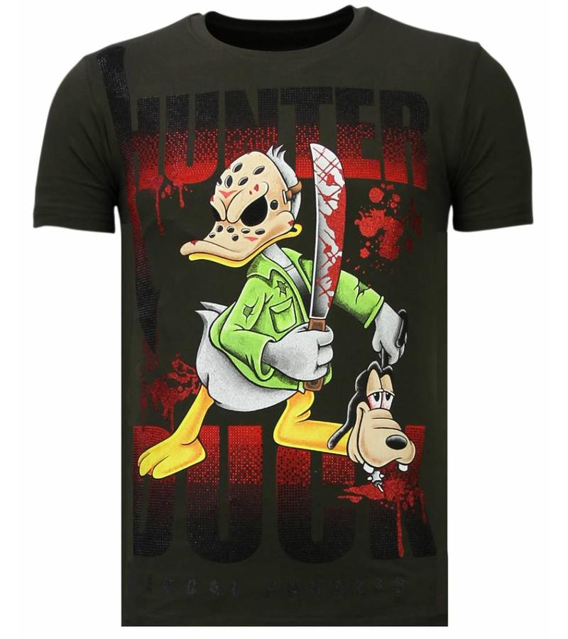 Local Fanatic Camisetas - Hunter Duck - Rhinestone Camisetas -  Verde