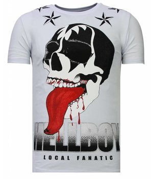 Local Fanatic Camisetas - Hellboy - Rhinestone Camisetas -  Blanco