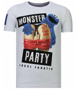 Local Fanatic Camisetas - Monster Party - Rhinestone Camisetas -  Blanco