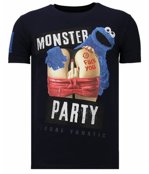 Local Fanatic Camisetas - Monster Party - Rhinestone Camisetas -  Azul