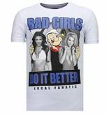 Local Fanatic Camisetas - Bad Girls Do It Better - Rhinestone Camisetas -  Blanco