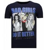 Local Fanatic Camisetas - Bad Girls Do It Better - Rhinestone Camisetas -  Azul