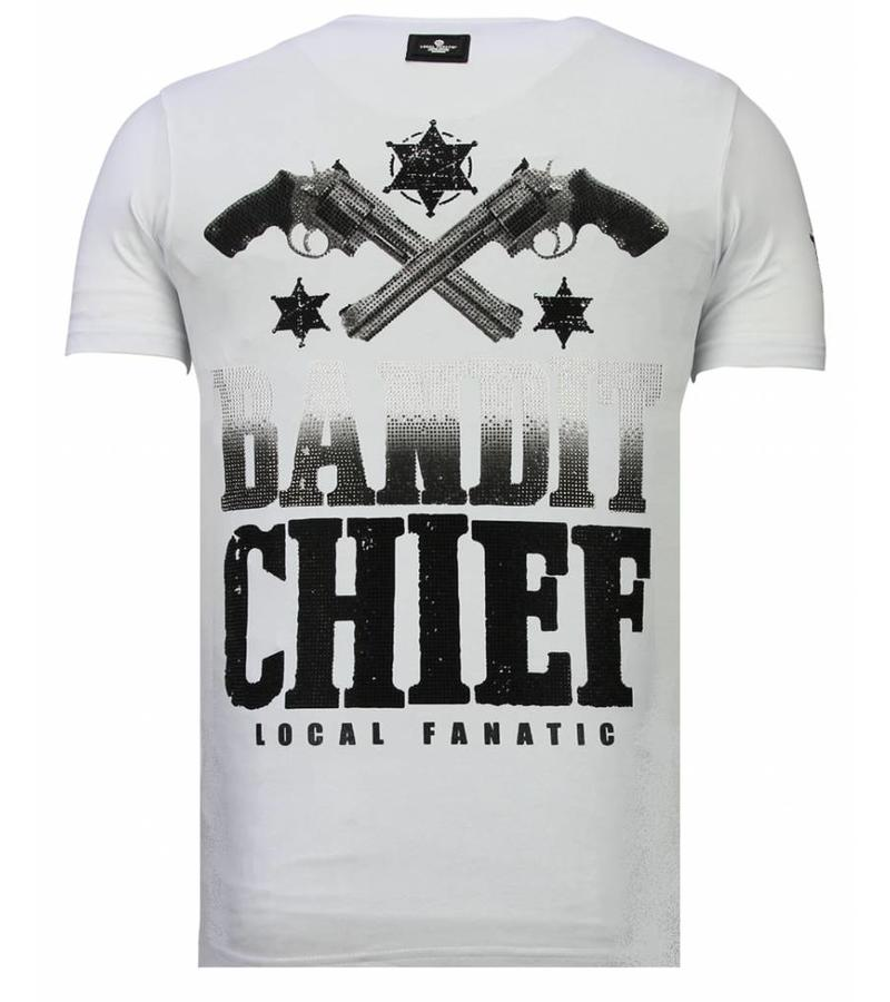 Local Fanatic Camisetas - Bandit Chief - Rhinestone Camisetas -  Blanco