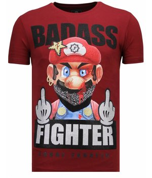 Local Fanatic Camisetas - Fight Club Mario - Rhinestone Camisetas -  Burdeos