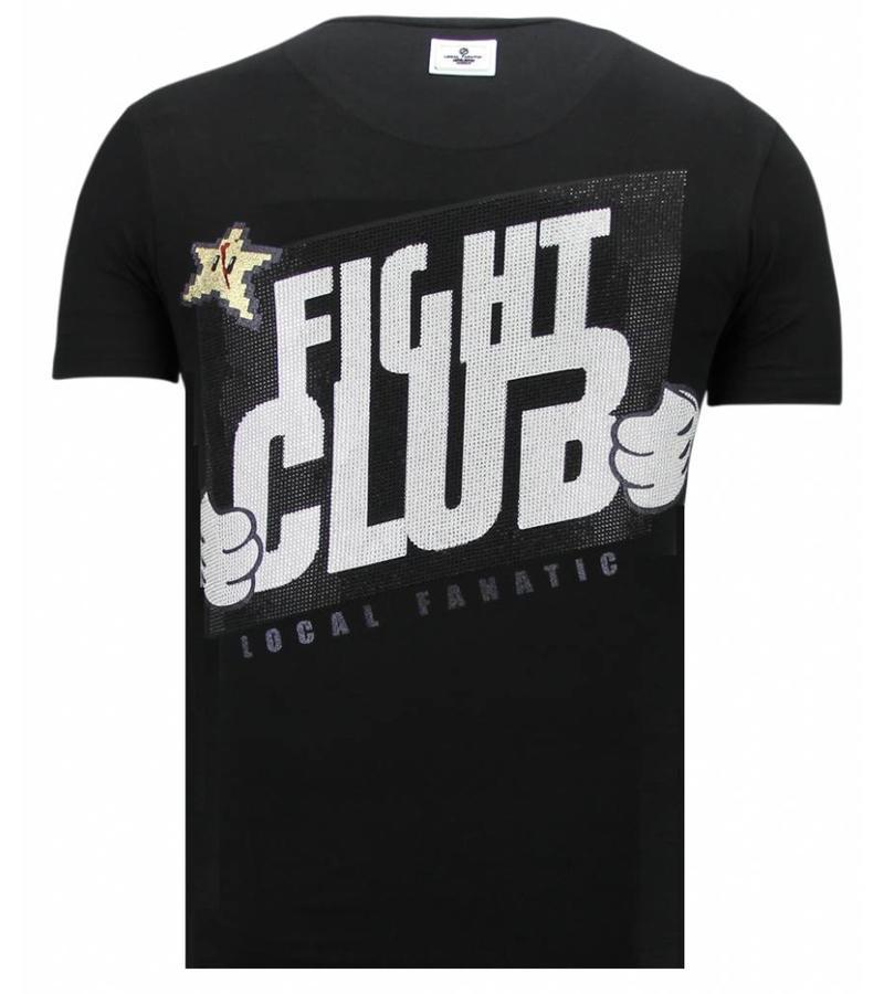 Local Fanatic Camisetas - Fight Club Mario - Rhinestone Camisetas -  Negro