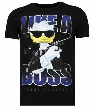 Local Fanatic Camisetas - Like A Boss - Rhinestone Camisetas -  Negro
