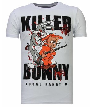 Local Fanatic Camisetas - Killer Bunny - Rhinestone Camisetas - Blanco