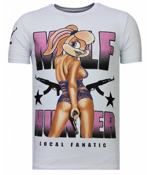Local Fanatic Camisetas - Milf Hunter - Rhinestone Camisetas - Blanco
