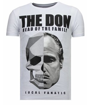 Local Fanatic Camisetas - The Don Skull - Rhinestone Camisetas - Blanco