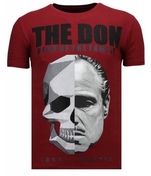 Local Fanatic Camisetas - The Don Skull - Rhinestone Camisetas - Burdeos
