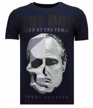 Local Fanatic Camisetas - The Don Skull - Rhinestone Camisetas - Azul