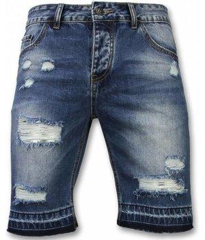 Enos Pantalones Cortos - Bermudas Hombre Slim Fit Ripped - Azul