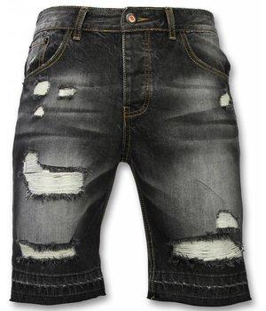 Enos Pantalones Cortos - Bermudas Hombre Slim Fit Ripped - Negro