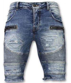 Enos Pantalones Cortos - Bermudas Hombre Slim Fit Ripped Biker - Azul