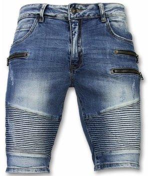 Enos Pantalones Cortos - Bermudas Hombre Slim Fit Biker Zippers - Azul