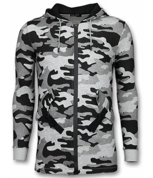 Enos Cárdigan Casual - Long Fit Camouflage Con Capucha - Gris