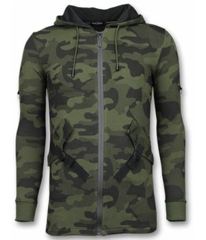 Enos Cárdigan Casual - Long Fit Camouflage Con Capucha - Verde