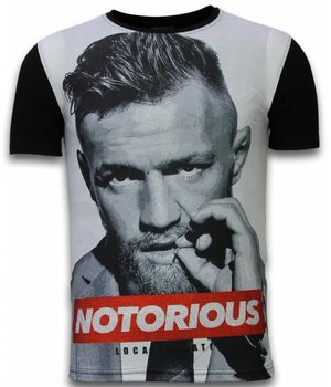 Local Fanatic McGregor Notorious - Digital Rhinestone Camisetas Personalizadas - Negro
