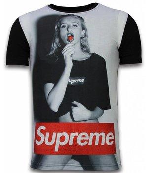 Gentile Bellini Lollipop - Digital Rhinestone Camisetas Personalizadas - Negro